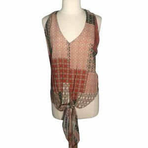 Polly & Esther Blouse sleeveless Tie Patchwork XL